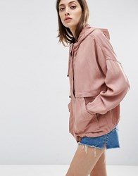 Asos Washed Cotton Summer Jacket Light Pink