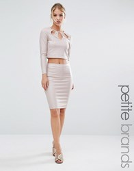 Miss Selfridge Petite Metallic Midi Pencil Skirt Blush Pink