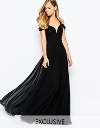 Forever Unique Sweetheart Maxi Dress With Off Shoulder Black