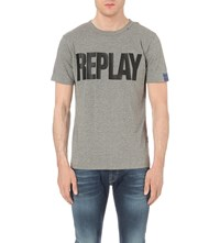 Replay Logo Cotton Jersey T Shirt Grey