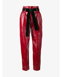 Philosophy Tapered Leather Trousers Red Black