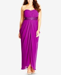 City Chic Plus Size Strapless Embellished Draped Gown Violet