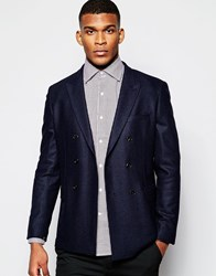 Reiss Herringbone Blazer In Slim Fit Navy