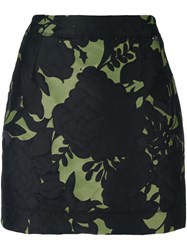 Twin Set Floral Jacquard Mini Skirt Green