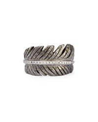Silver Feather Ring With Diamonds Michael Aram