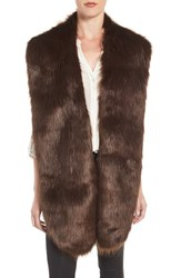 Badgley Mischka Women's Faux Mink Stole Brown