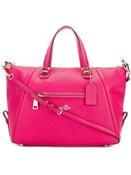 Coach Contrast Stitching Tote Bag Pink Purple