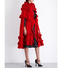 Gucci Ruffled Wool Cape Red