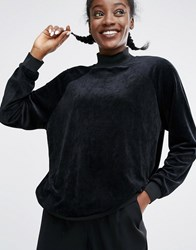 Monki Velvet Oversized Jumper Black