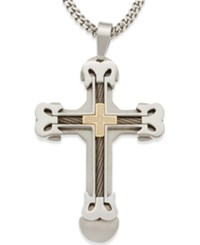 Proposition Love Men's Cross Pendant Necklace In Gold Ion Plated Stainless Steel