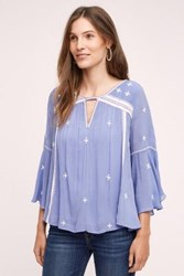 Anthropologie Embroidered Adena Top Sky