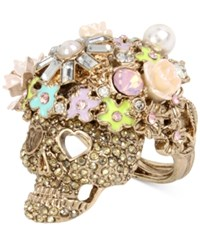 Betsey Johnson Rose Gold Tone Flowery Glitter Skull Ring
