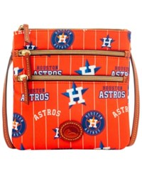 Dooney And Bourke Houston Astros Nylon Triple Zip Crossbody Orange