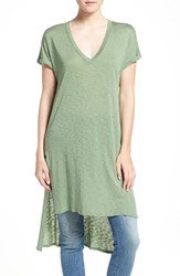 Splendid Women's V Neck High Low Tee Sage