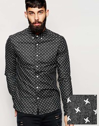 Asos Denim Shirt In Skinny Fit With Twist Print And Long Sleeves Black