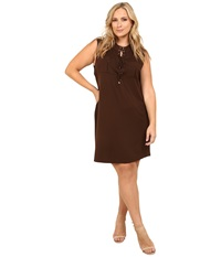 Vince Camuto Plus Plus Size Serengeti Sleeveless Lace Up Dress W Front Pockets Chocolate Women's Dress Brown
