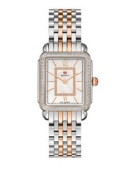 Michele Deco Ii Diamond Mother Of Pearl 18K Rose Gold And Stainless Steel Bracelet Watch Silver Rose Gold