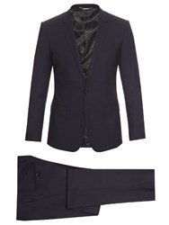 Dolce And Gabbana Martini Fit Stretch Wool Suit Blue