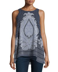 Max Studio Floral Print A Line Tank Navy Chambray