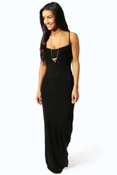 Boohoo Strappy Cross Over Back Maxi Dress Black