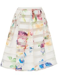 Ted Baker Hoona Tapestry Floral Burnout Skirt Pale Yellow