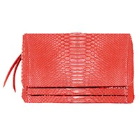 Carlos Falchi Soft Zip Clutch Red