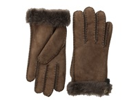 Ugg Tenney Glove With Leather Trim Chocolate M Dress Gloves White