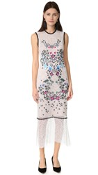 Yigal Azrouel Sleeveless Floral Embroidery Dress Ivory Multi