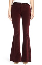 James Jeans Women's Shayebel Velveteen Flare Pants Rouge Noir Velveteen