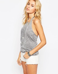 Asos Festival Top With Halter Neck In Acid Wash With Eyelet Hem Charcoal