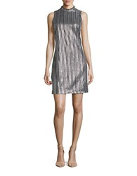 Guess Embroidered Sleeveless Shift Dress Silver