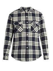 Tomorrowland Checked Cotton Flannel Shirt Navy Multi