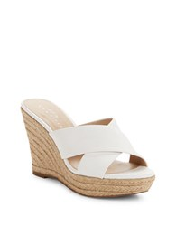 424 Fifth Sadie Leather Crisscross Espadrille Wedge Sandals Ivory