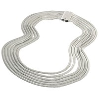 Adele Marie Six Row Flat Chain Necklace Silver