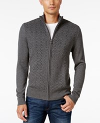Alfani Men's Dash Line Full Zip Sweater Only At Macy's Night Grey Heather