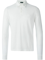 Zanone Long Sleeve Polo Shirt White