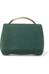 Eddie Borgo Dean Mini Doctor Leather Trimmed Nubuck Shoulder Bag Forest Green