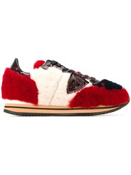 Philippe Model 'Tropez' Faux Fur Sneakers Red