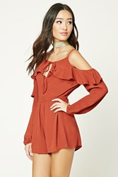 Forever 21 Open Shoulder Romper Rust