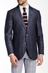 Tailorbyrd Blue Herringbone Two Button Notch Lapel Linen Jacket