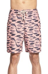 Men's Tailor Vintage Reversible Whale Print Swim Trunks Coral Reef
