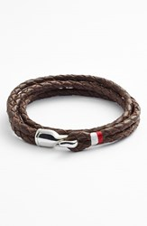 Men's Miansai 'Trice' Braided Leather Wrap Bracelet Brown