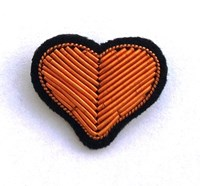Macon And Lequoy Small Embroidered Gold Heart Pin