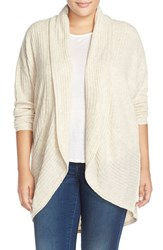 Plus Size Women's Sejour Ribbed Knit Oval Cardigan Beige Oatmeal Light Heather
