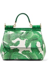 Dolce And Gabbana Sicily Medium Printed Textured Leather Tote Green