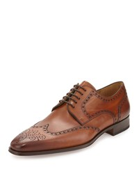 Magnanni For Neiman Marcus Brogue Wing Tip Leather Oxford Cognac Red