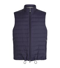 Brunello Cucinelli Lightweight Down Zip Up Gilet Male Navy