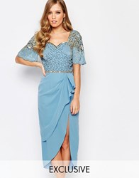 Virgos Lounge Laila Embellished Midi Dress With Thigh Split Powder Blue Gold