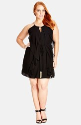 Plus Size Women's City Chic Waterfall Ruffle Sleeveless Tunic Black