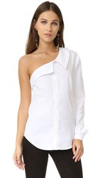 Petersyn Avery One Shoulder Top White